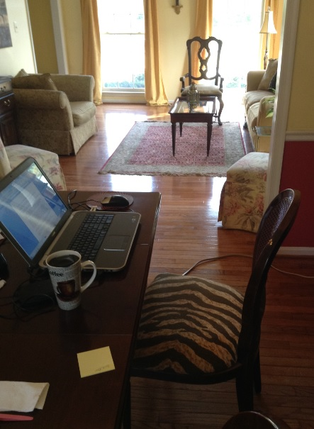 My current writing spot in my dining room, which gives me a view of the front and backyard. (This is the cleaned-up-for-company version.)