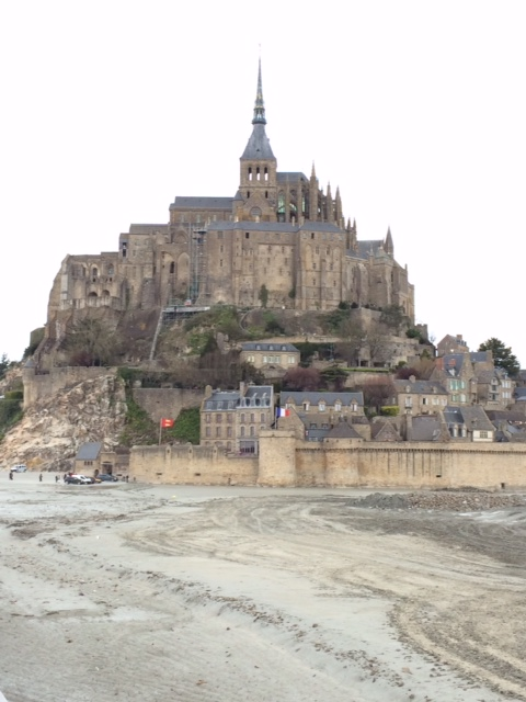 Sometimes, when the tide is high, Mont-St-Michel is surrounded by water, but that wasn't the case on the day we visited.